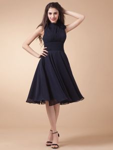 High-neck Ruched Customize Navy Blue Dresses For Bride Mother in Alamo