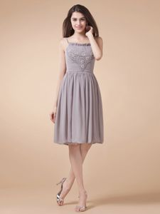 Spaghetti Straps with Beading Grey Mother Bride Dresses in Knee-length