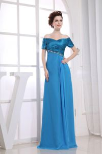 Beading Decorate off The Shoulder Blue Mother Bride Dress in Adams