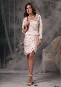 Sheath Strapless Short Ruffles Mother of The Groom Dresses in Tripp