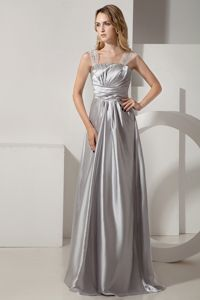 Sliver Column Straps Ruche and Beading Mother of Bride Dress in Pierre