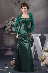 Ruched Hunter Green Mother of The Bride Outfits in Appliques Decorate