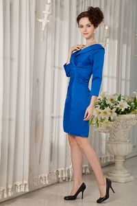 V-neck Peacock Blue Ruched Mother of Bride Dress with 3/4 Sleeves