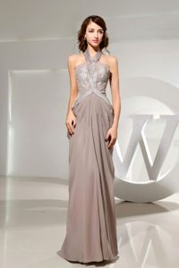 Halter Empire Beading Grey Modest Mother of The Bride Dresses in Groton