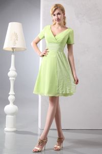 Yellow Green V-neck Mini-length Mother Of The Bride Dress in ND