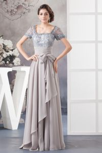 Gray Lace Chiffon Mother Of Bride Dresses with Sheer Fabric in NY