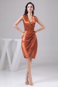 Orange Ruched Knee-length Mother Of The Groom Dresses in NM USA
