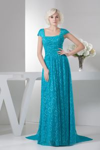 Square Brush Train Mother Of Bride Dresses with Cap Sleeves in MS