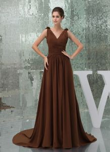 Ruched Brown Flowers Court Train Mother Of The Bride Dresses on Sale
