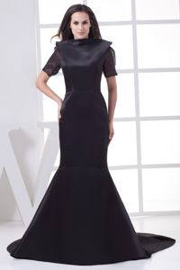 Mermaid Black Chapel Train High-neck Mother Dress with Short Sleeves