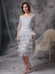 Tea-length Grey Off The Shoulder Mother Of The Bride Dresses Beaded