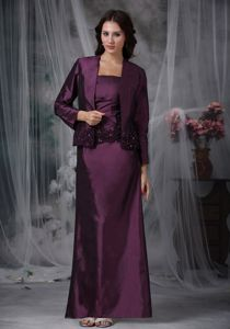 Dark Purple Ankle-length Mather Of The Bride Dresses with Appliques