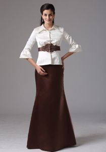 High-neck Sashed Mother Of The Bride Dress With Long Sleeves on Sale