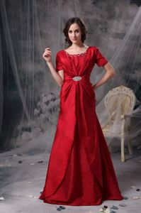Taffeta Red Scoop Brush Train Mother Of The Bride Dress with Beading