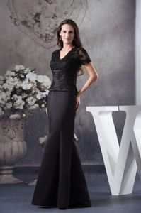 Black Appliqued Mother Bride Dresses with Short Sleeves in Oklahoma