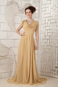 Champagne Brush Train V-neck Mother Of The Bride Dress with Beading