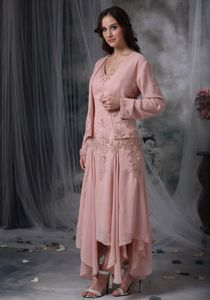 Asymmetrical Pink V-neck Appliques Mother Of The Groom Dresses 2013