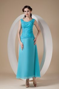 Ankle-length Teal Wide Straps Beaded Mother Bride Dresses for Prom