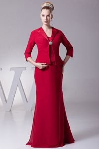 Wine Red Mother Of The Bride Outfits with Straps in Massachusetts