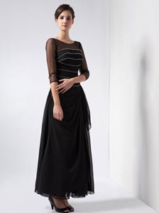 Scoop Ankle-length Black Chiffon Mother Dresses with Beads for Cheap