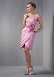 Rose Pink Short Hand Made Flowers Mother Bride Gown with Cap Sleeves