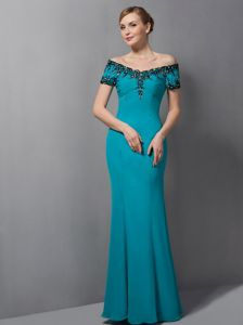 Teal Mermaid Appliques Off The Shoulder Mother Of The Bride Outfits