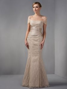 Off The Shoulder Champagne Mermaid Beading Lace Mother Bride Dresses
