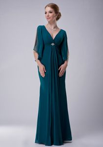 Beaded Turquoise Chiffon Mother Bride Dress with V-neck and Sleeves