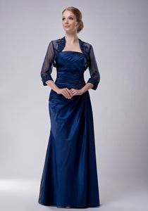 Navy Blue Column Strapless Appliques Mother Bride Dresses in Maine