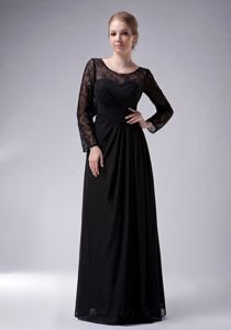 Ruched Long Sleeves Black Scoop Dresses For Bride Mother in Montana