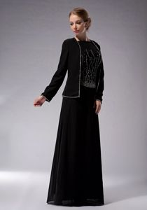 New Jersey Bateau Chiffon Beaded Mother Of The Bride Dress in Black