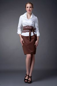 Mini-length White and Brown Mother Of The Bride Dresses with V-neck