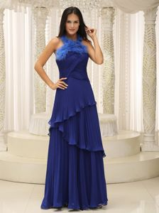 Halter Layered Feather Royal Blue Mother Bride Dress in Mississippi