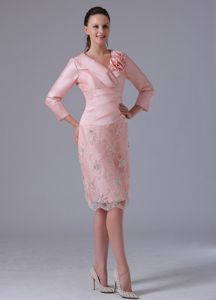 Baby Pink Knee-length Mother Of The Bride Dresses with Long Sleeves