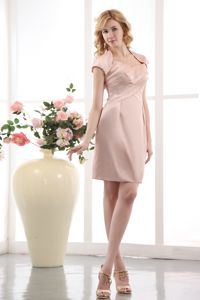 Pink Ruched Straps Beading Taffeta Mother Dress in State College