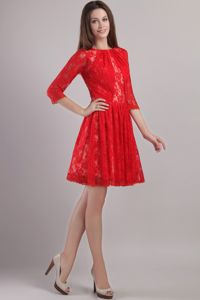 Embroidery Lace Bateau Red Mother Of The Bride Dresses in Michigan