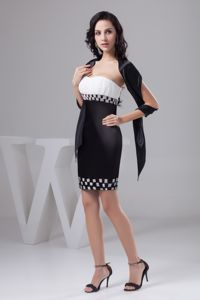 Beading Black and White Ruched Malvern Mother of the Groom Dress