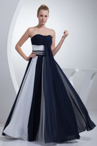 Navy Blue and White Ruching Beaded New Mother Dresses for Prom