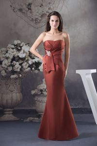 Mermaid Appliques Rust Red Strapless Mother Dresses in Beaverton