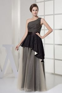 One Shoulder Ruched Grey Organza Mother Bride Dress in Youngstown