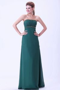 Beading Dark Green Ruched Chiffon Mother Bride Dress in Mansfield