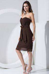 Sweetheart Ruched Chiffon Brown Columbus Mother Dress with Bowknot