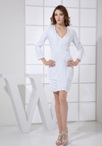 V-neck Column White Ruched Mother Dress with Sleeves in Cincinnati