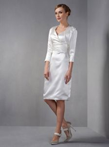 V-neck White Taffeta Ruched Akron Mother Bride Dress with Sleeves