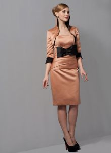 Rust Red Bowknot Satin Ruched Mother Of The Bride Dress in Raleigh