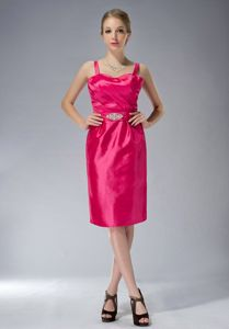 Coral Red Ruched Straps Beading Fayetteville Mother of Bride Dress