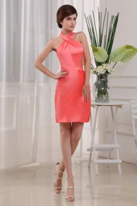 Taffeta Halter Mother Of The Bride Dress in Coral Red in Amherst