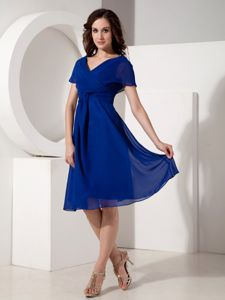 V-neck Chiffon Ruched Royal Blue Mother Bride Dresses in Albany