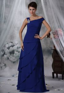 Layered Chiffon Royal Blue Asymmetrical Mother Dresses in Teaneck