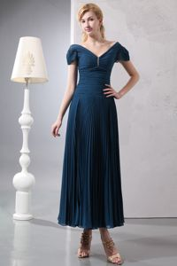 Pleated V-neck Ruched Navy Blue Beading Atlantic City Mother Dress